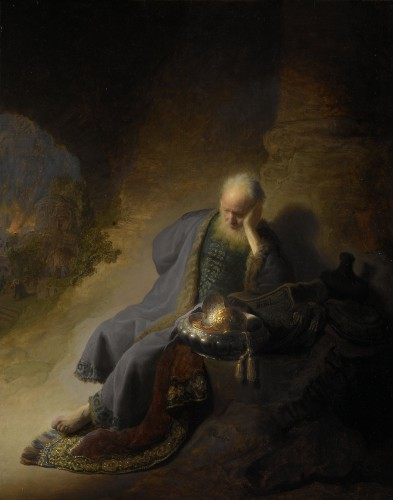 Jeremiah Lamenting the Destruction of Jerusalem, Rembrandt Harmensz. van....jpg